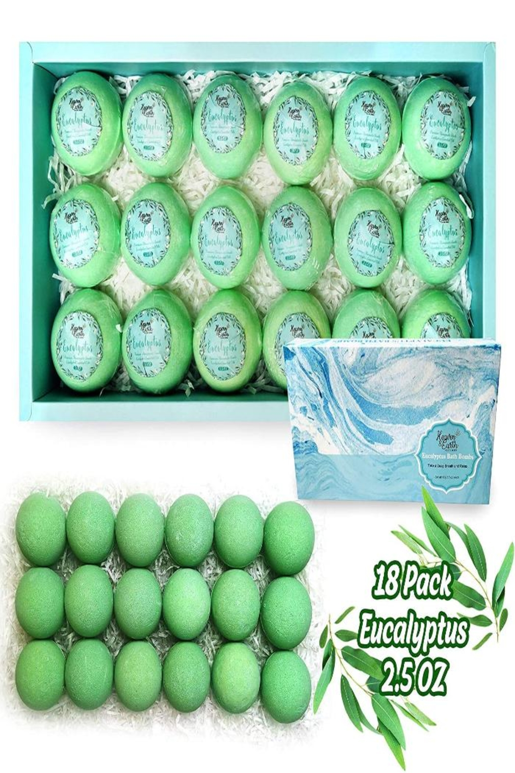 Parker Bath Bomb Gift Sets For Men. 18 Therapeutic Eucalyptus Bath Bombs For Sore Muscles - Side Cropped Image