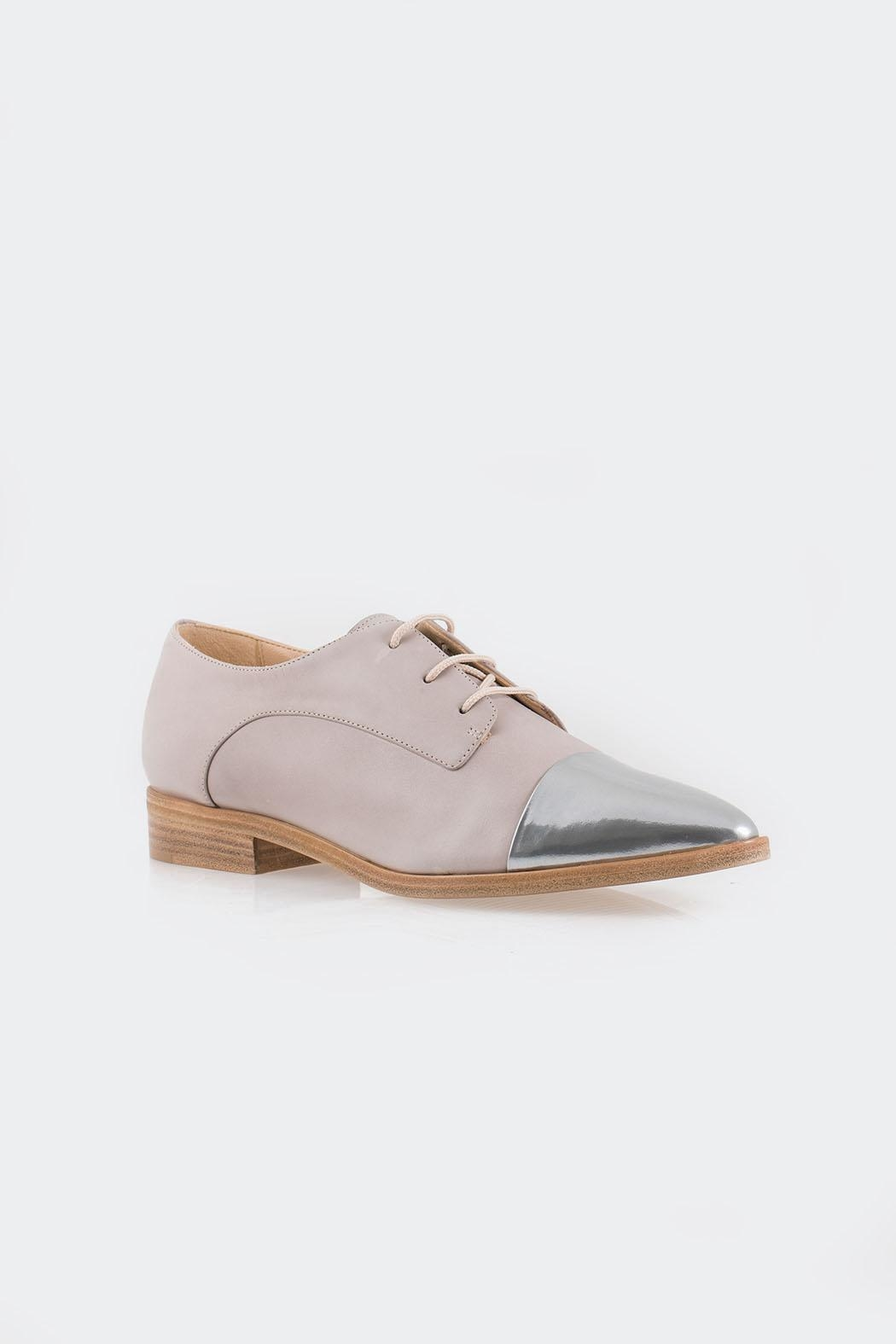 Parlanti Grey Silver Brogues - Side Cropped Image