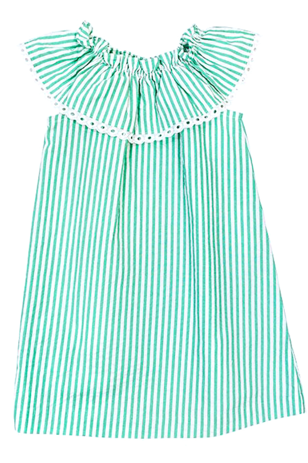 Bailey Boys Parrot-Green Seersucker KiKi-Dress - Back Cropped Image