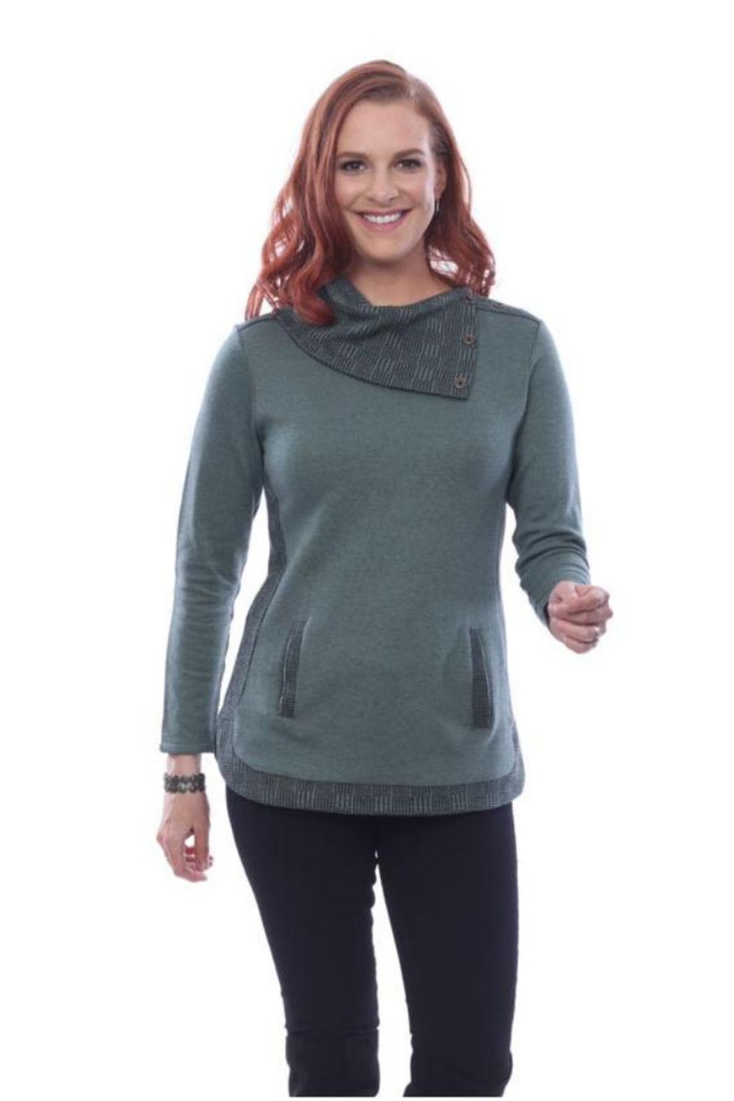 Parsley & Sage Alyson Split Button Collar Top 20W244C22 - Main Image