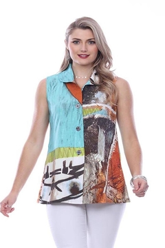 Parsley & Sage Abstract Button-Up Vest - Alternate List Image