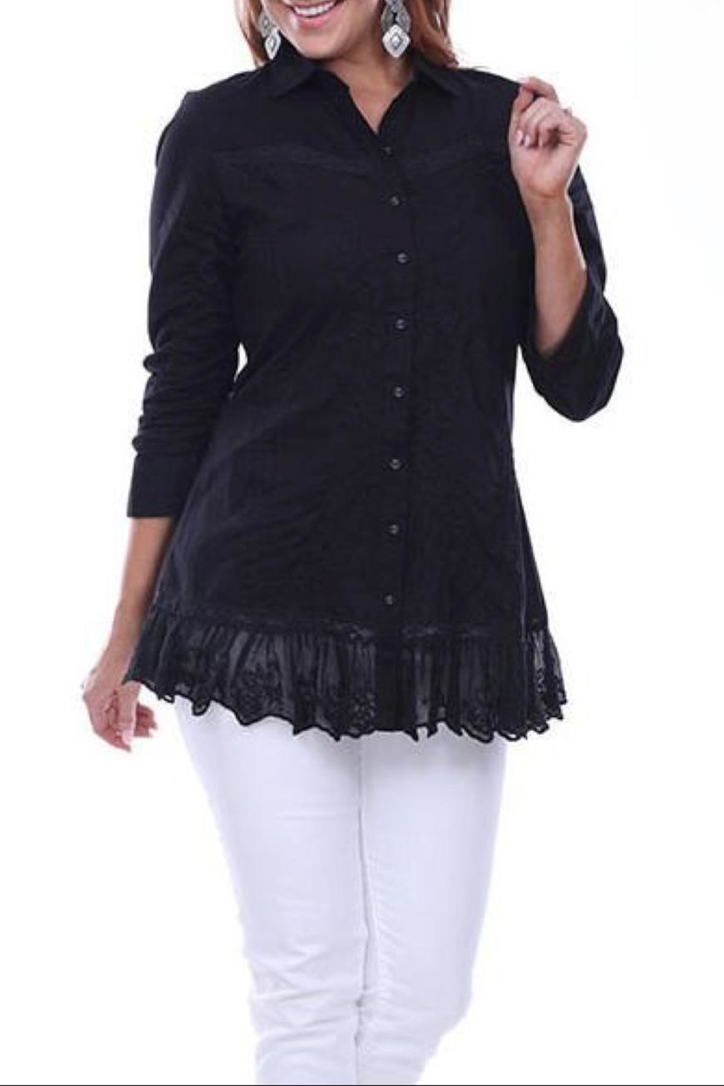 Parsley & Sage Black Embroidered Top - Main Image