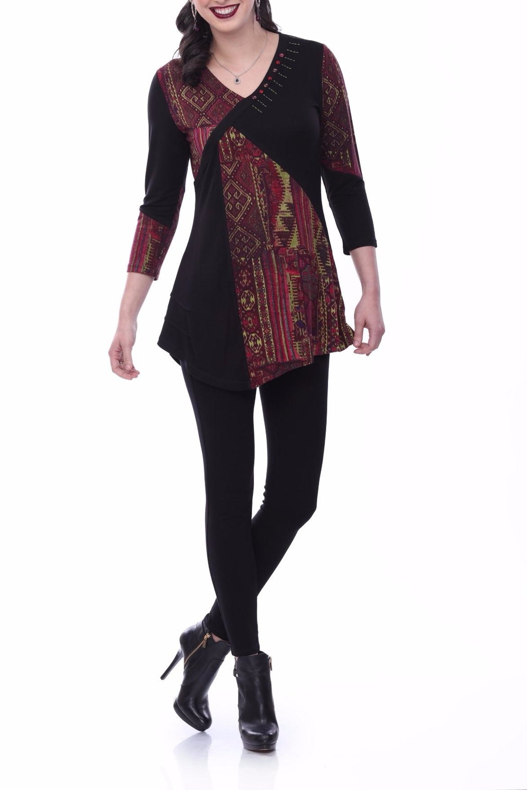 Parsley & Sage Burgundy Abstract Tunic - Main Image