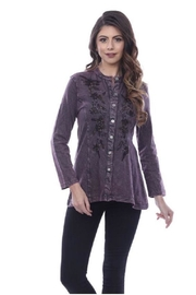 Parsley & Sage Button-Up Embroidered Top - Product Mini Image