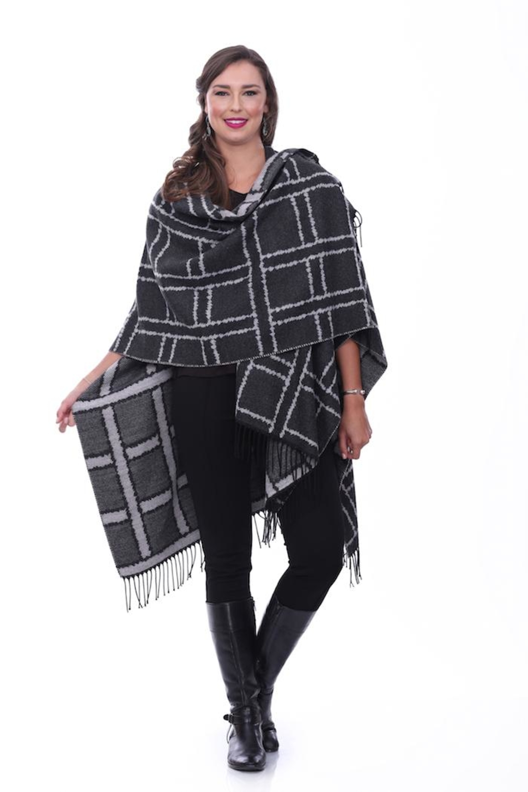 Parsley & Sage Charcoal Plaid Cape - Main Image
