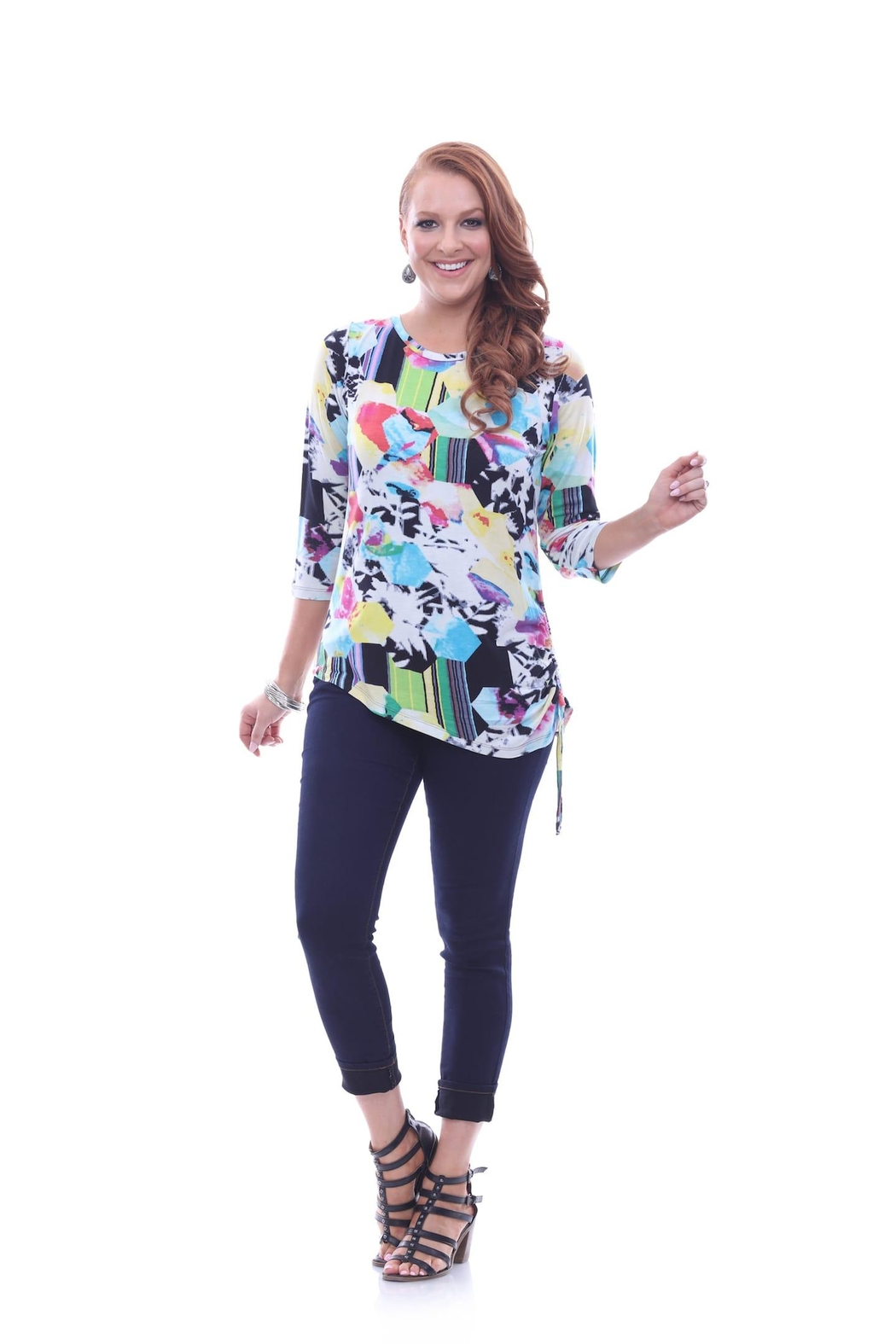 Parsley & Sage Colorful Asymmetrical Top - Main Image