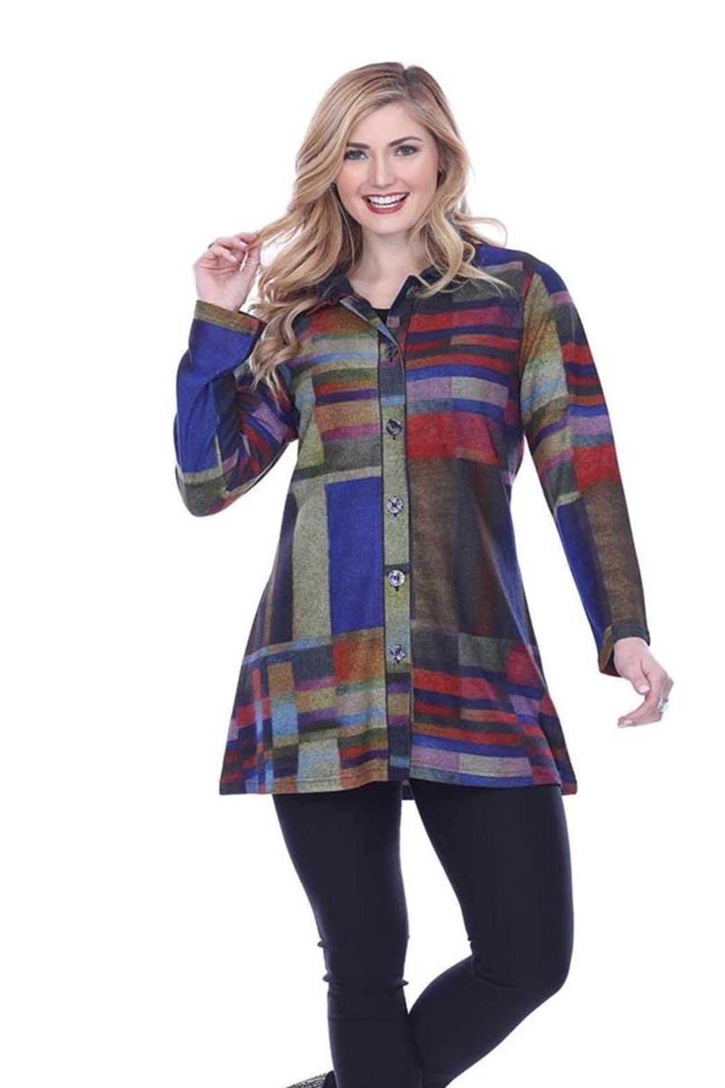Parsley & Sage Colorful Button-Up Tunic - Main Image