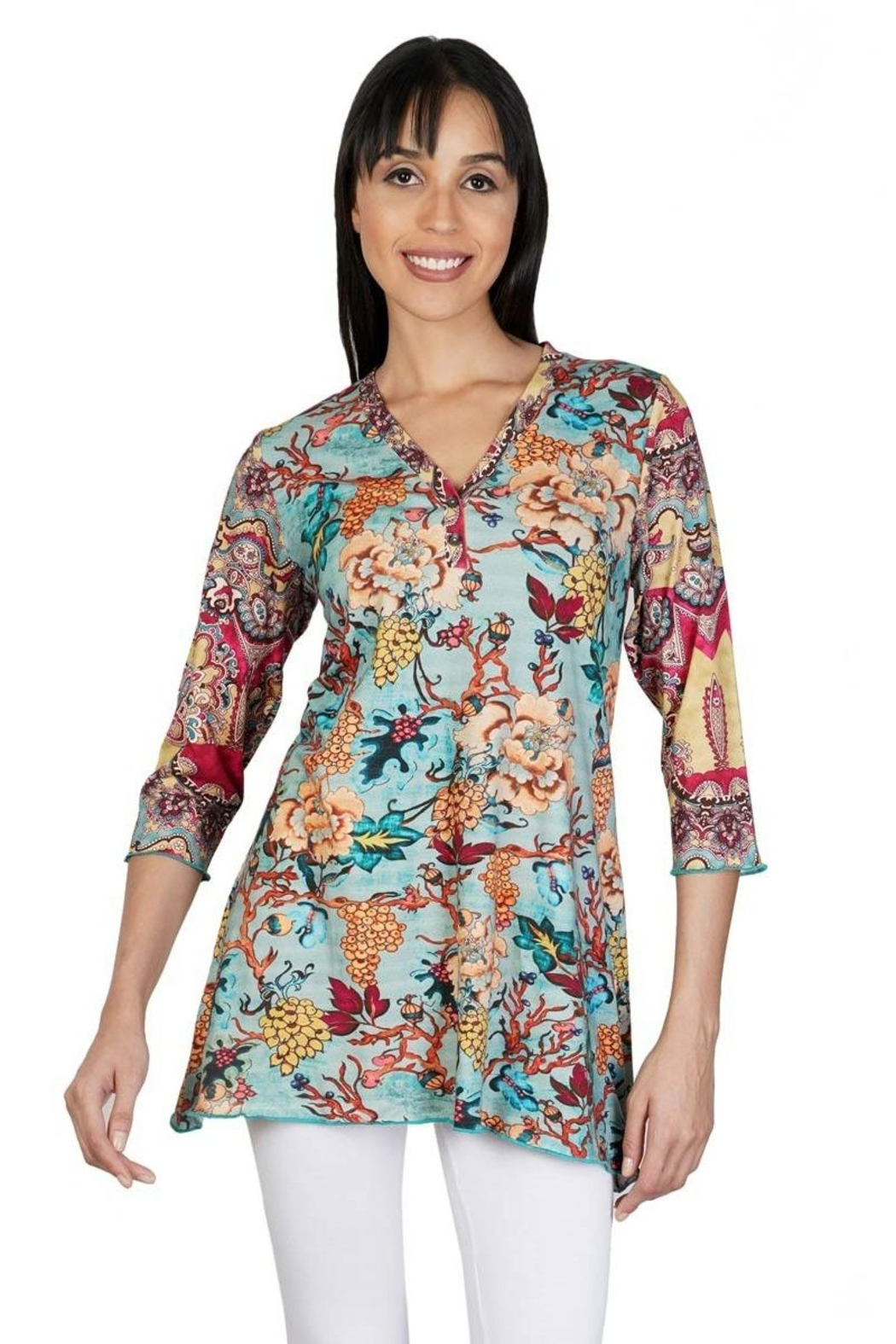 Parsley & Sage Floral Henley Tunic - Main Image
