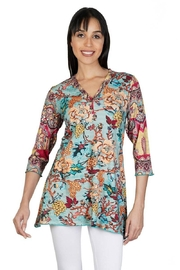 Parsley & Sage Floral Henley Tunic - Front cropped