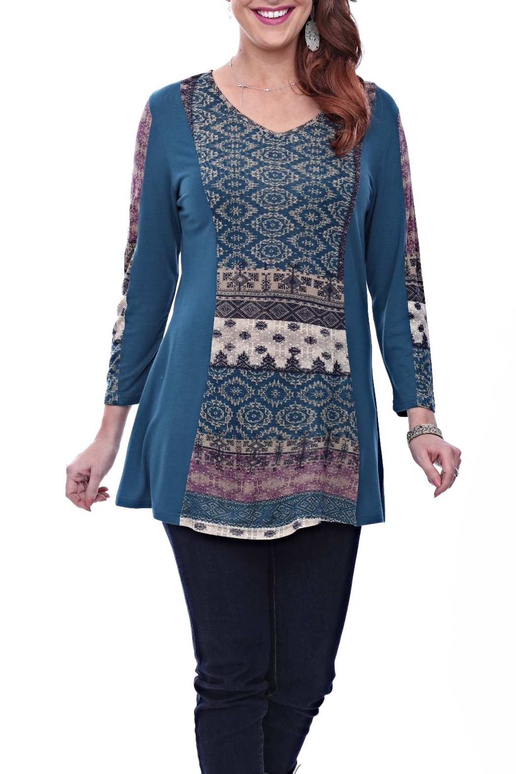 Parsley & Sage Jewel Tone Tunic Top - Front Cropped Image