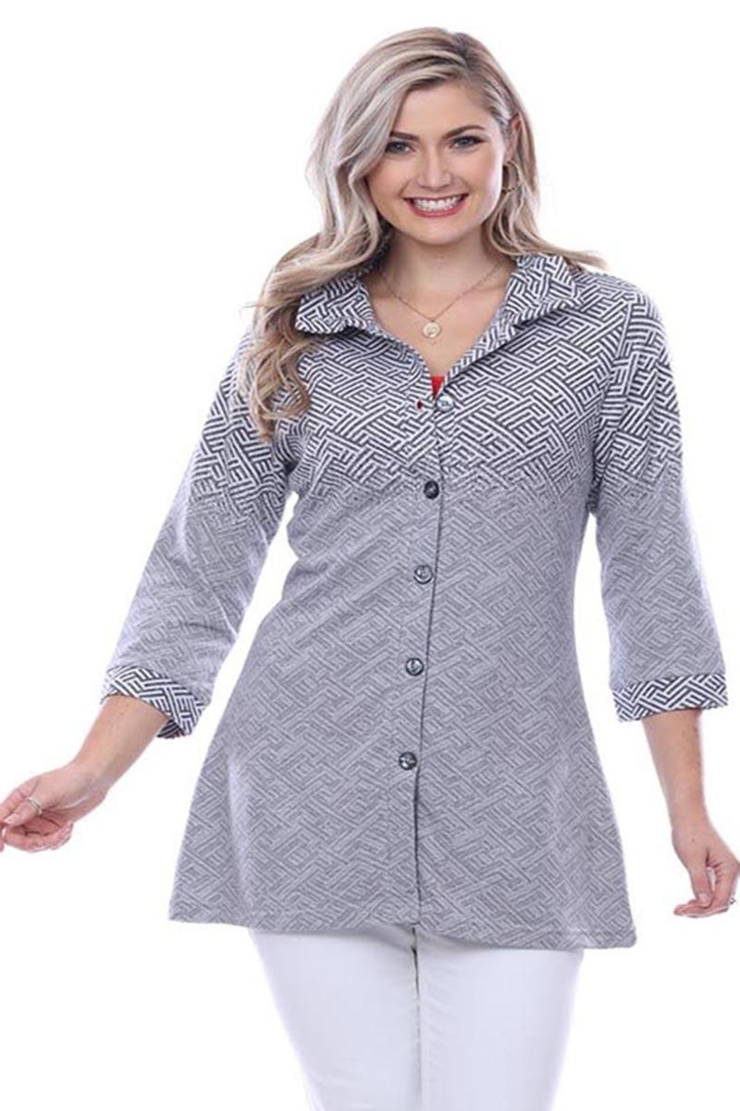 Parsley & Sage Ombre Button-Up Tunic - Main Image
