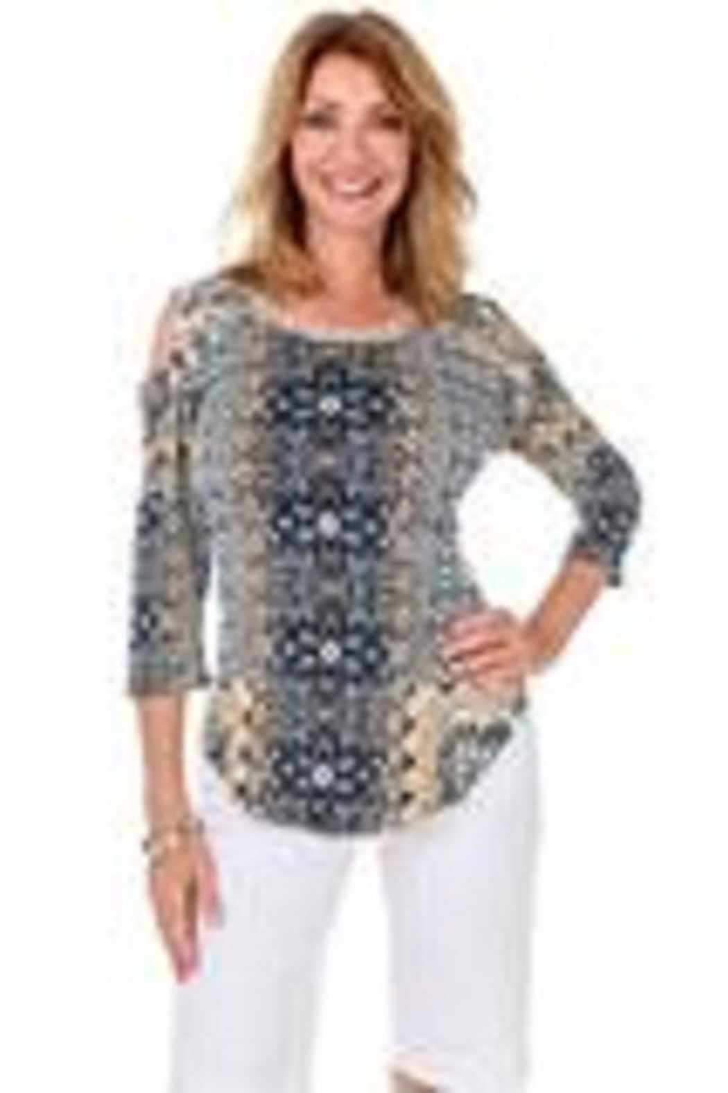 Parsley & Sage Paisley Coldshoulder Top - Main Image