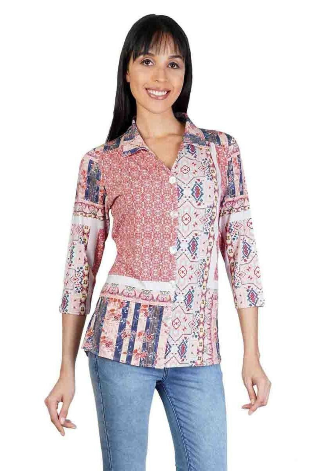 Parsley & Sage Patchwork Button-Up Top - Main Image