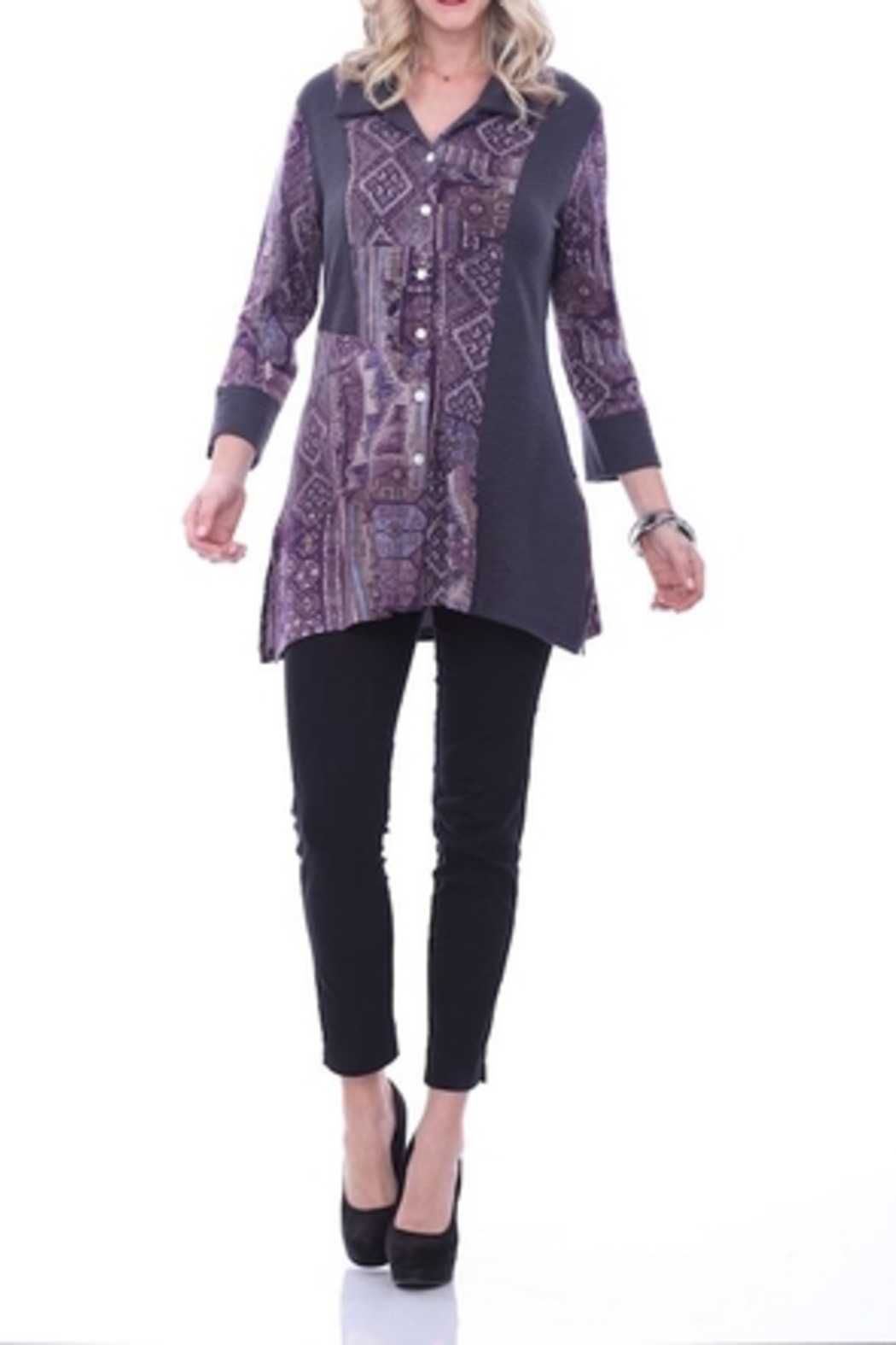 Parsley & Sage Purple Abstract Tunic - Front Full Image