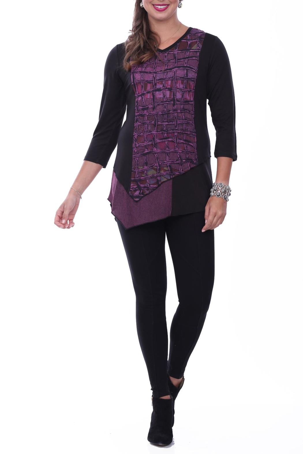Parsley & Sage Textured Front Tunic Top - Main Image