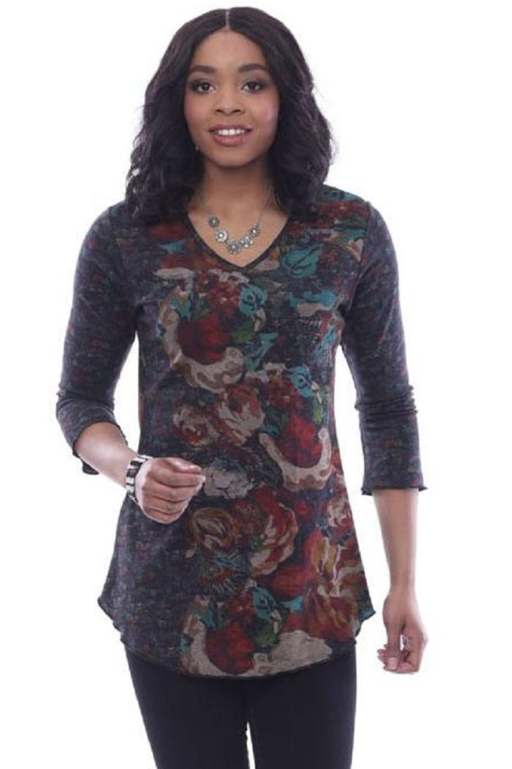 Parsley and Sage Floral Hi-Lo Tunic - Front Cropped Image