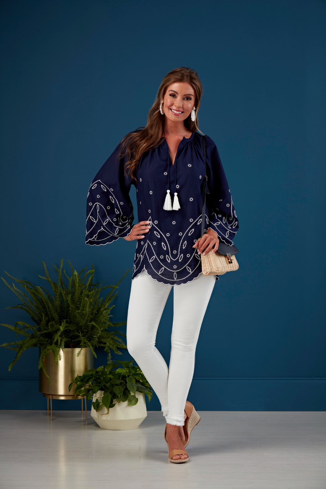 Mud Pie  Parson Embroidered Tunic - Front Full Image