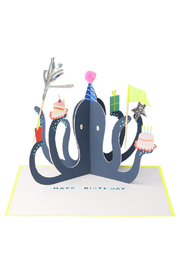 Meri Meri  Party Octopus Stand-Up Birthday Card - Front cropped