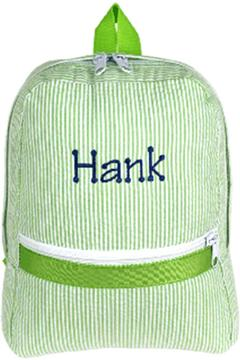 Shoptiques Product: Personalized Lime-Seersucker Backpack