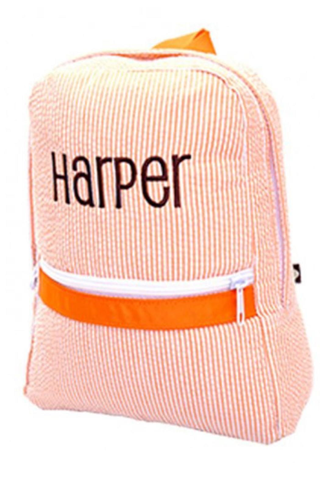 Party Cat Personalized Orange-Seersucker Backpack - Main Image