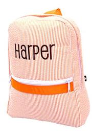Party Cat Personalized Orange-Seersucker Backpack - Front cropped