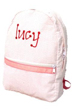 Shoptiques Product: Personalized Pink-Seersucker Backpack