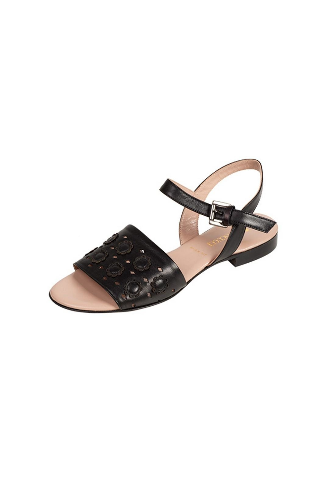 Pascucci Black Leather Sandal - Front Full Image