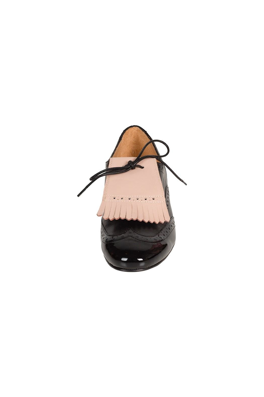 Pascucci Black Lether Brogue - Side Cropped Image