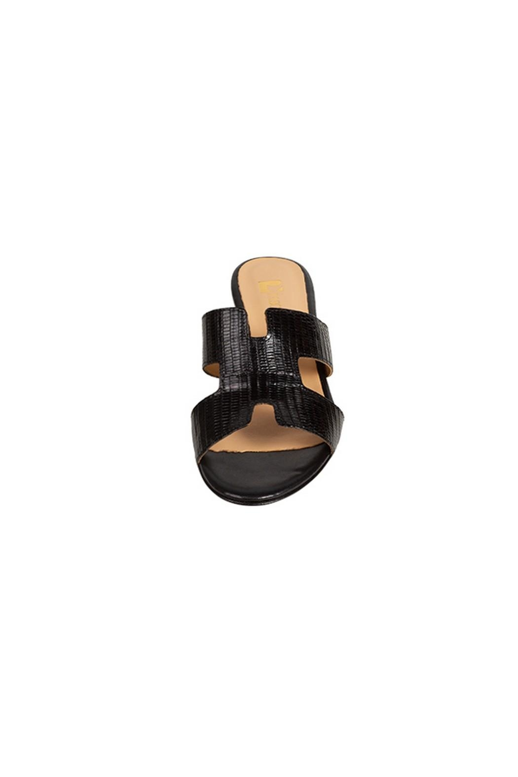 Pascucci Black Snakeskin H-Slides - Side Cropped Image