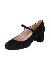Pascucci Black Suede Mary-Janes - Front full body