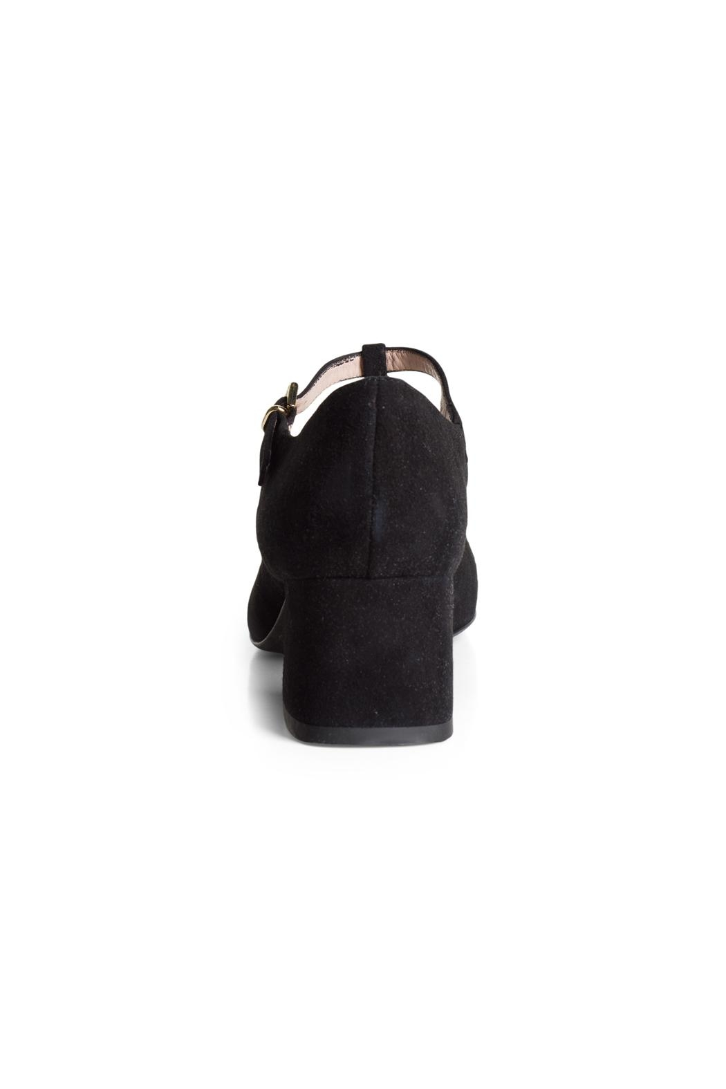 Pascucci Black Suede t-Bar - Back Cropped Image