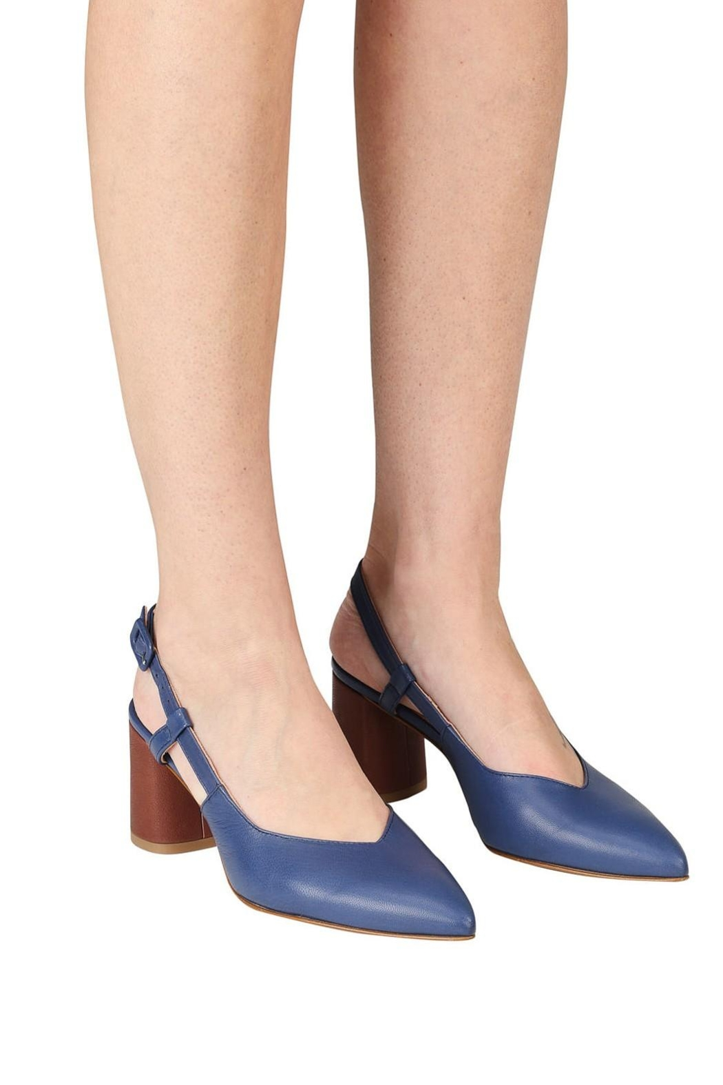 Pascucci Blue Brown Slingback - Side Cropped Image