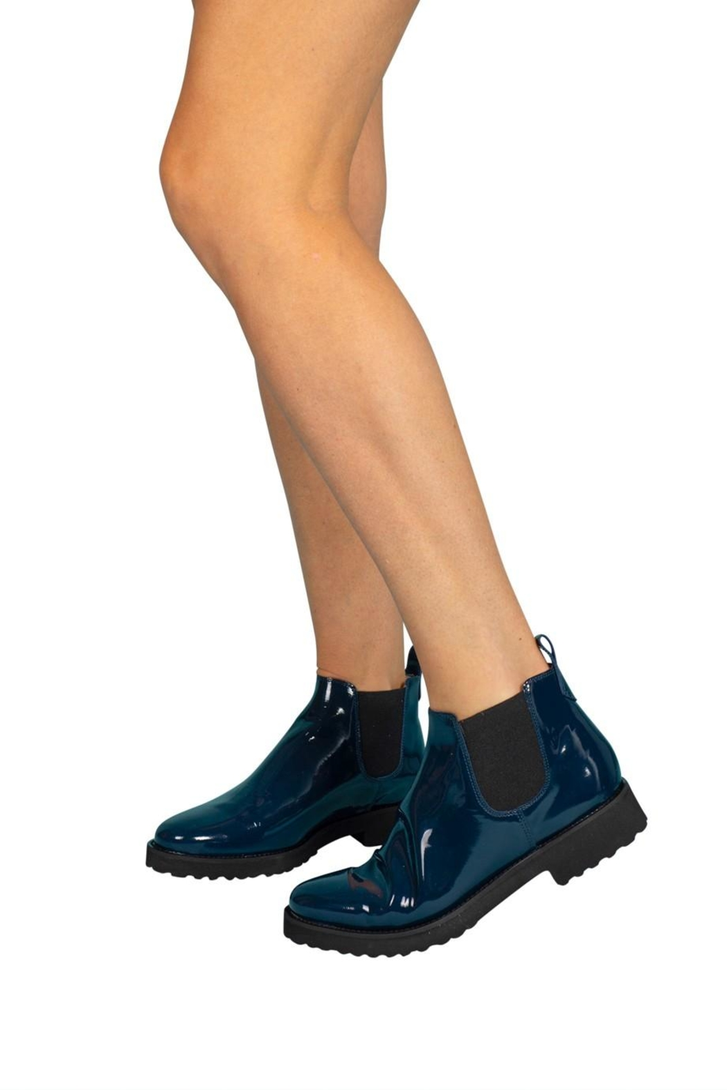 Pascucci Blue Patent-Leather Ankle-Boots - Back Cropped Image