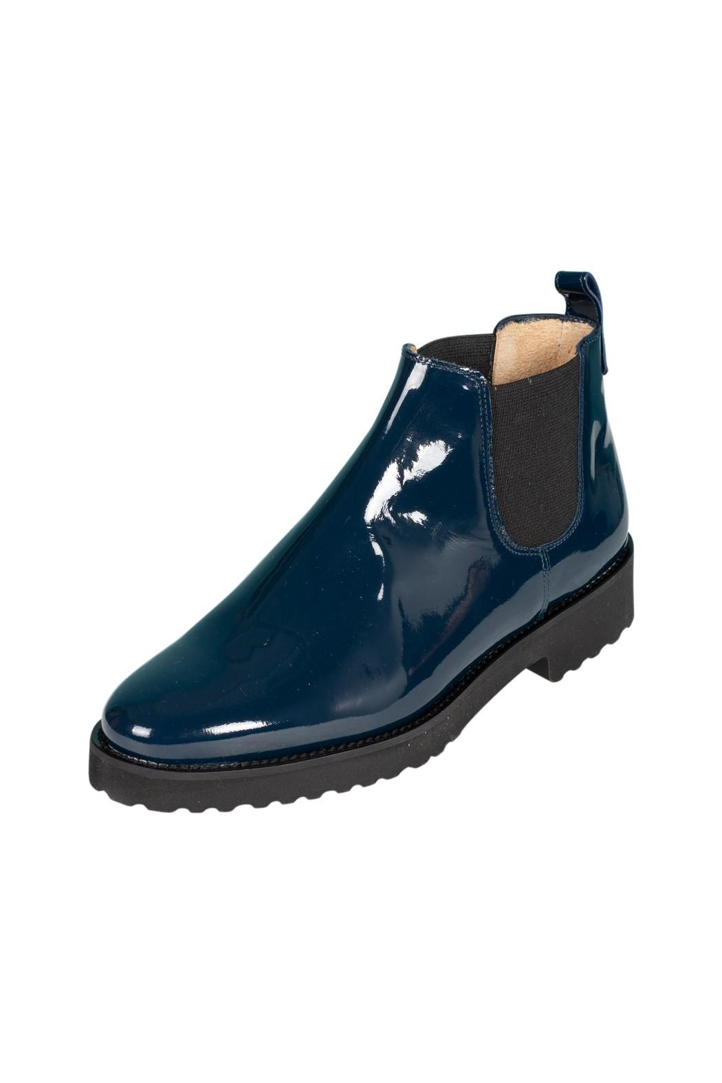 Pascucci Blue Patent-Leather Ankle-Boots - Front Full Image