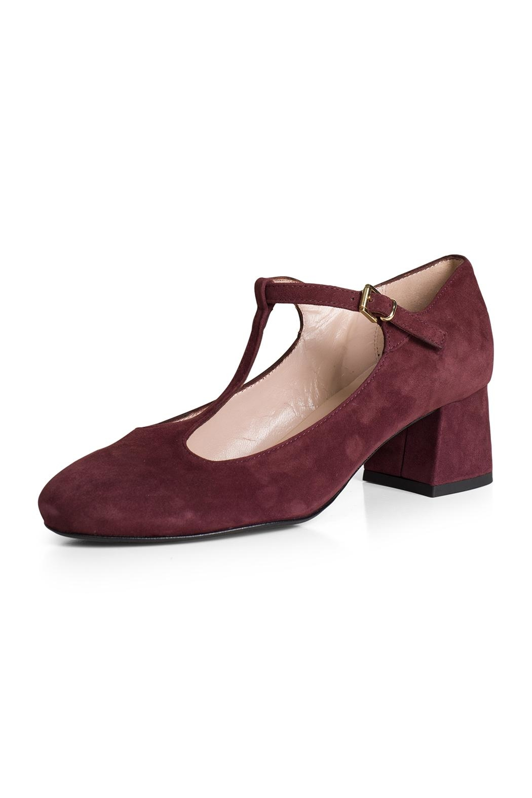 Pascucci Burgundy Suede t-Bar - Front Full Image