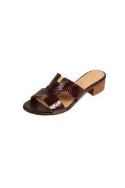 Pascucci Chocolate Snakeskin  H-Slides - Front full body