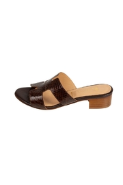 Pascucci Chocolate Snakeskin  H-Slides - Front cropped