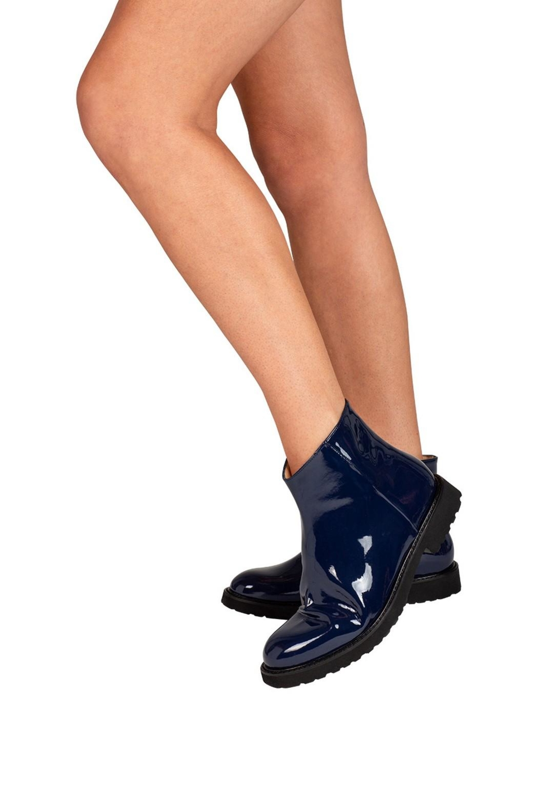 Pascucci Cobalt-Blue Patent-Leather Ankle-Boots - Back Cropped Image