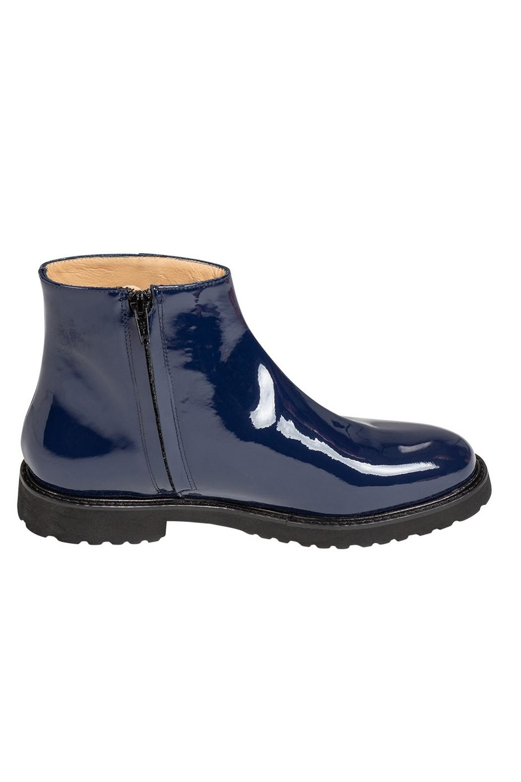 Pascucci Cobalt-Blue Patent-Leather Ankle-Boots - Side Cropped Image