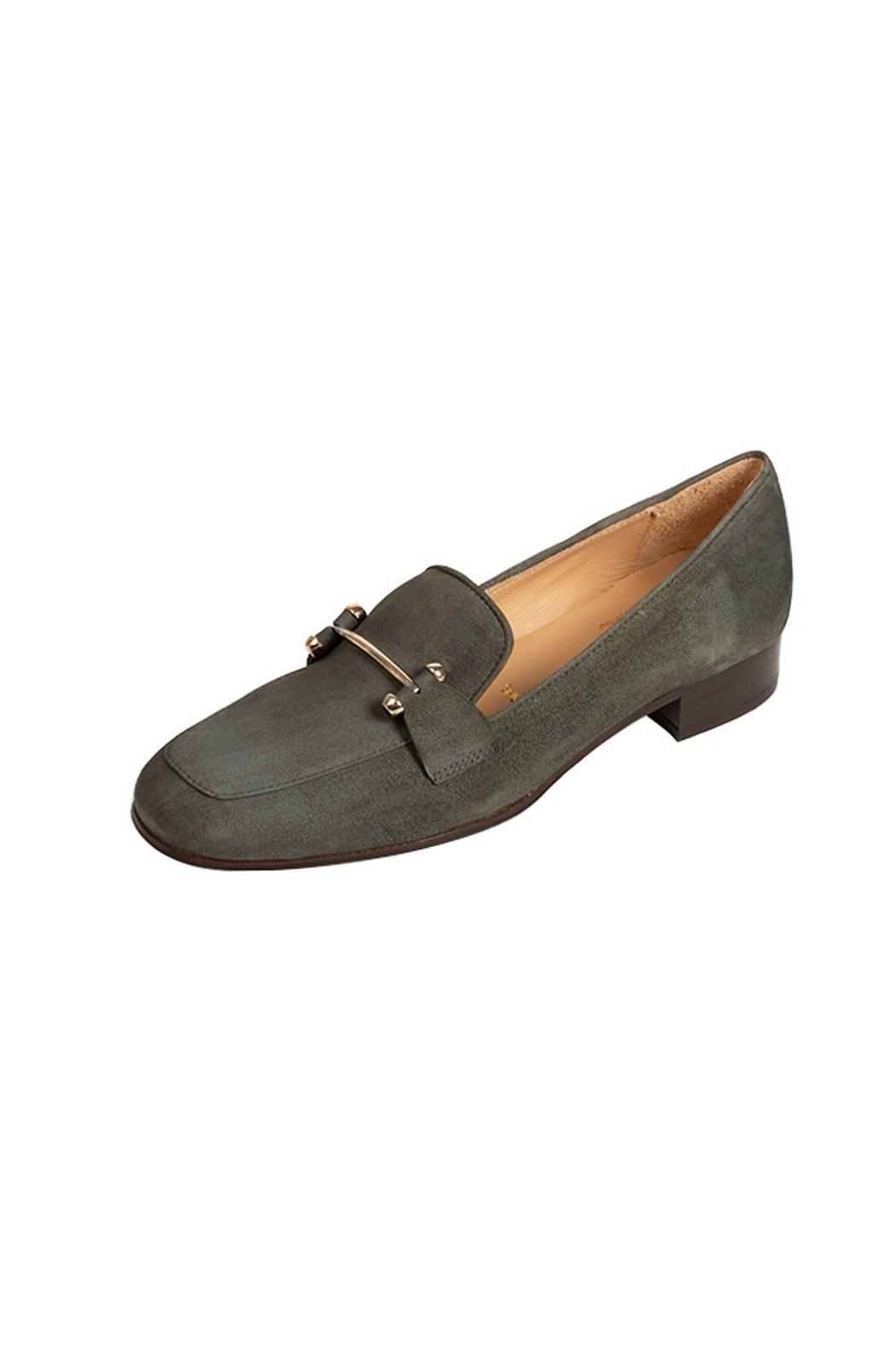 Pascucci Forest-Green Suede Loafers - Front Full Image