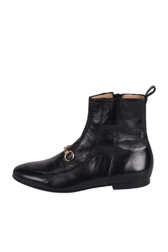 Shoptiques Product: Gold-Buckle Black Ankle-Boot