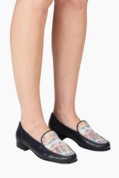 Pascucci Hand-Painted Navy Loafer - Alternate List Image