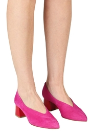 Pascucci Hot-Pink Suede Pumps - Back cropped