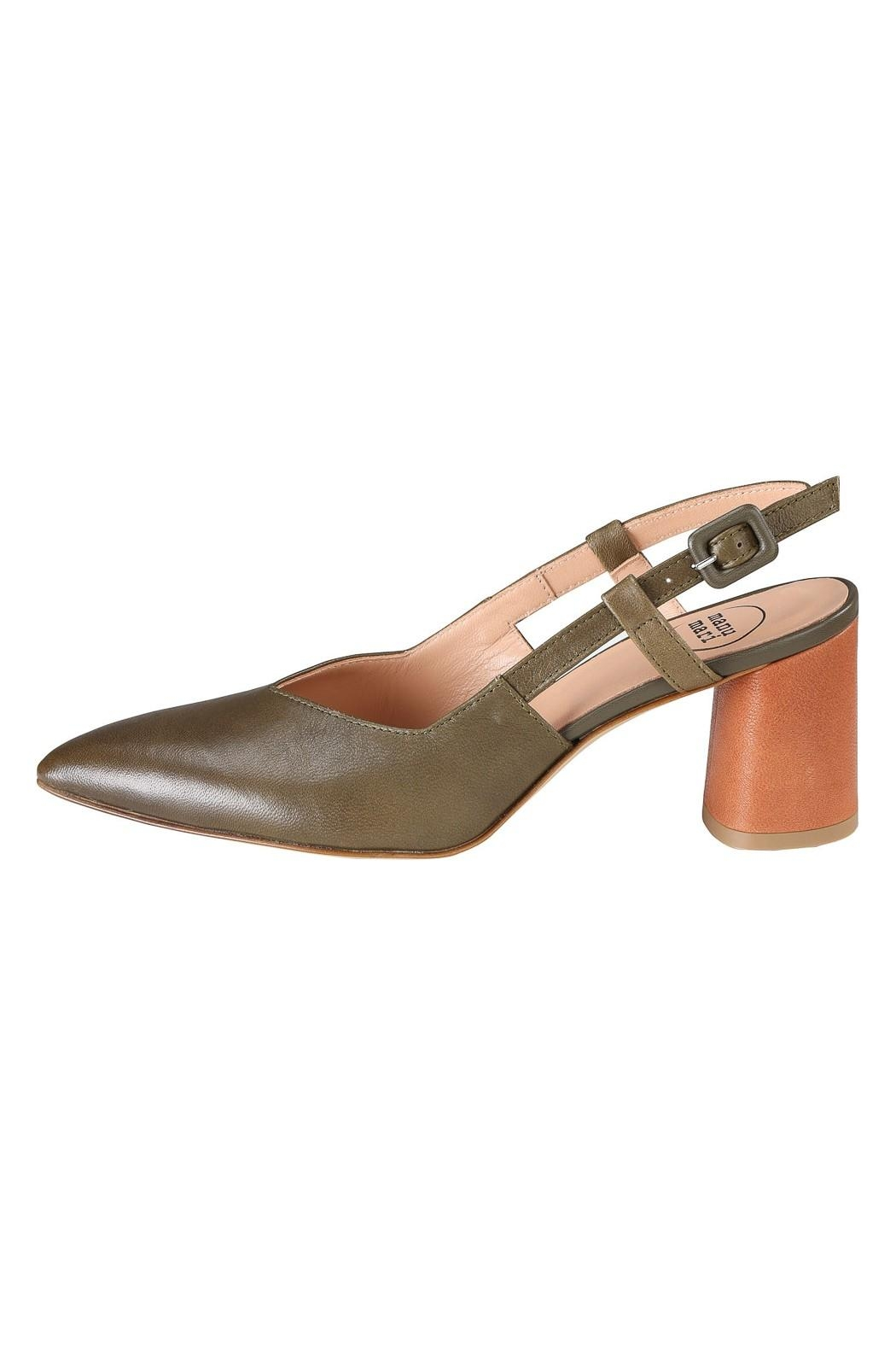 Pascucci Khaki Brown Slingbacks - Front Cropped Image