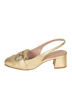Pascucci Leather Gold Sling-Back-Heels - Product List Image