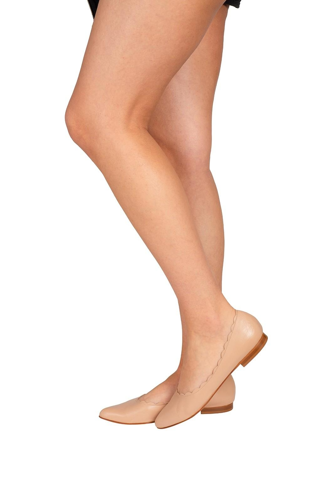 Pascucci Leather Nude Ballet-Flats - Back Cropped Image