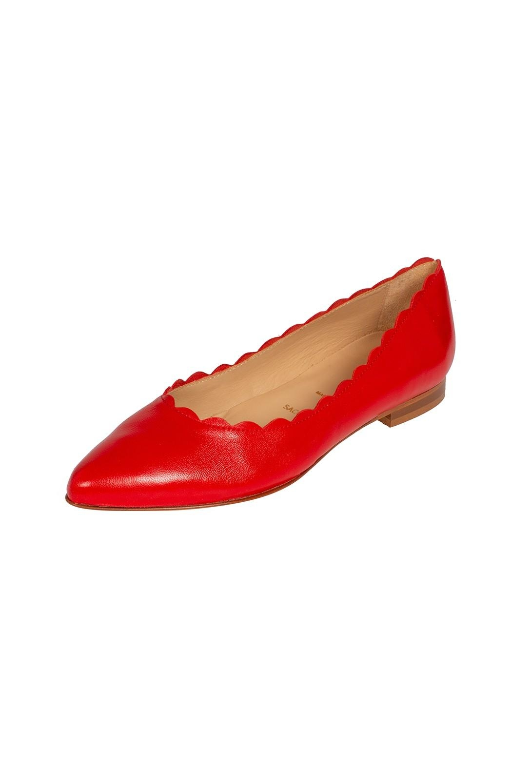 Pascucci Leather Red Ballet-Flat - Front Full Image