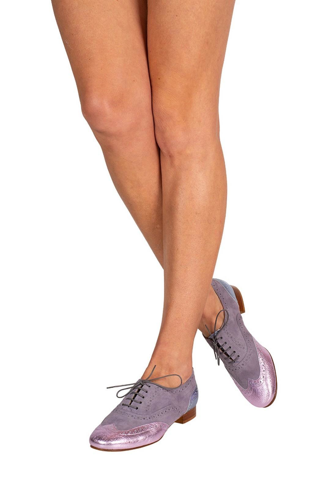 Pascucci Lilac-Leather Flat Brogue - Back Cropped Image