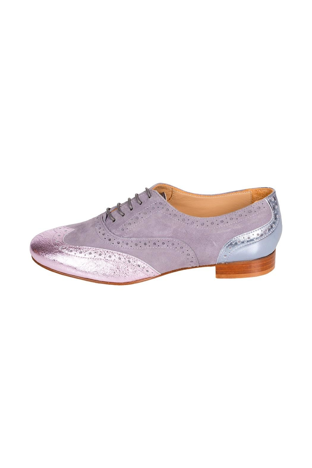 Pascucci Lilac-Leather Flat Brogue - Main Image