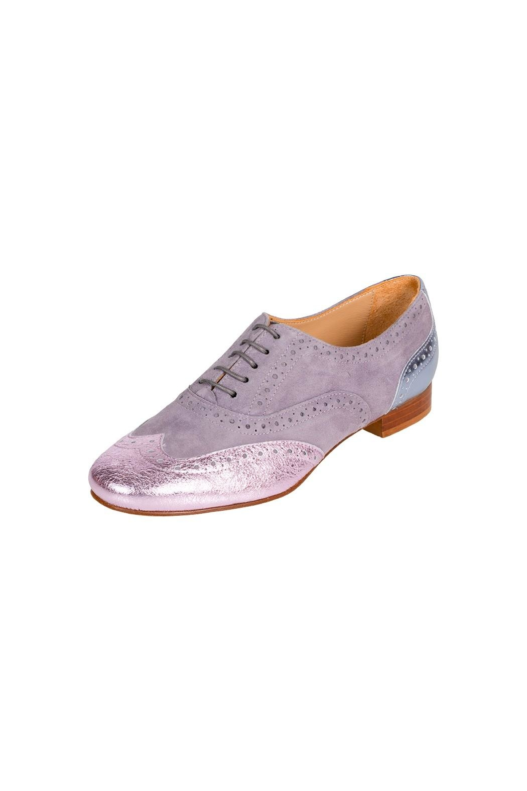 Pascucci Lilac-Leather Flat Brogue - Front Full Image